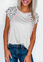 Leopard Splicing O-Neck T-Shirt Tee - Gray
