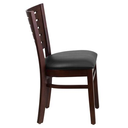 XU-DG-W0108-WAL-BLKV-GG Darby Series Slat Back Walnut Wooden Restaurant Chair - Black Vinyl