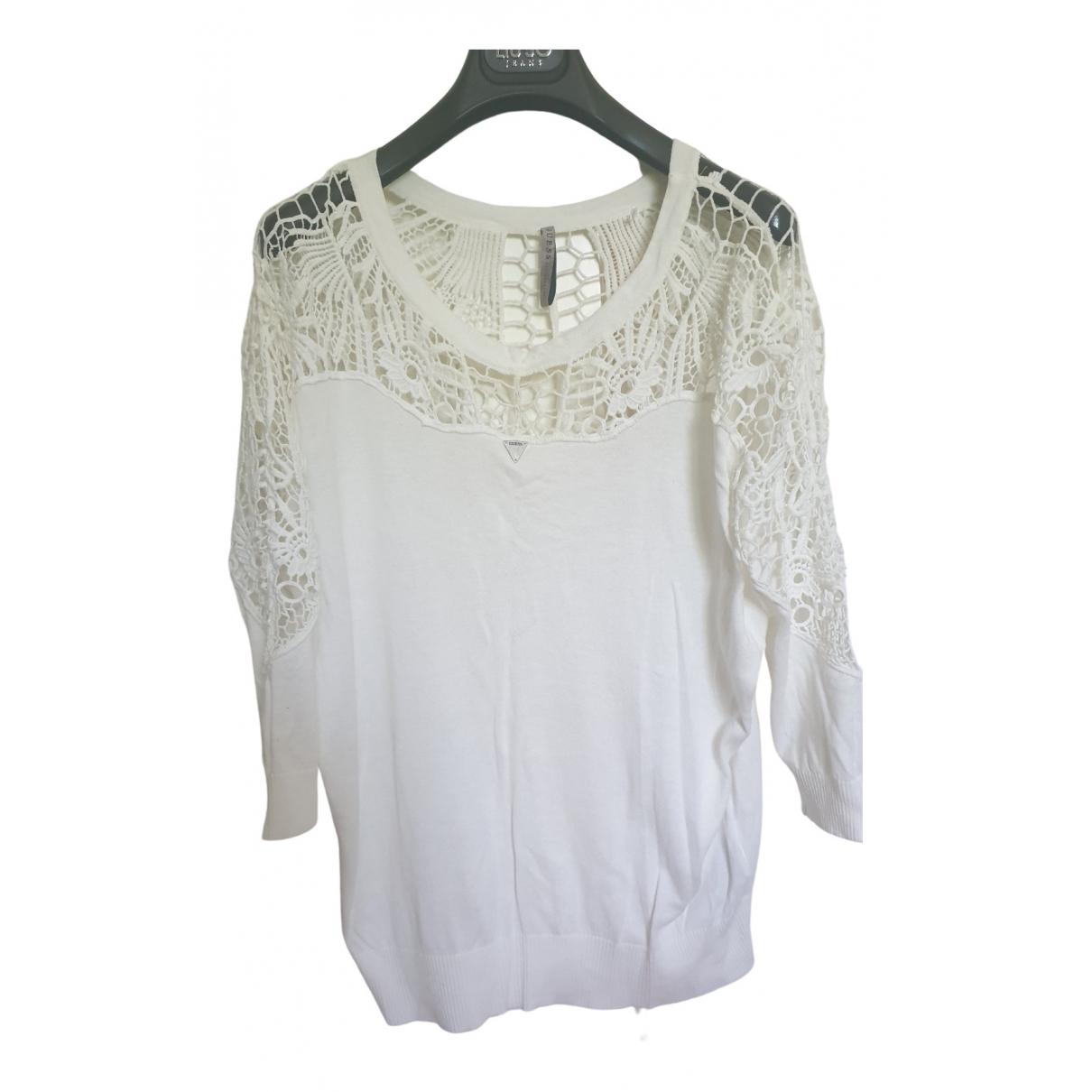 Guess - Pull   pour femme en coton - blanc