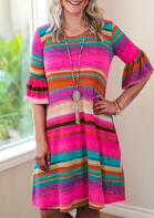 Serape Striped Ruffled Pocket Mini Dress