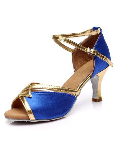 Milanoo Zapatos de Baile Latino 2020 de Saten Zapatos de Salon de Baile Rojo Zapato de Punta Abierta Entrecruzado Zapatos de Tacon Alto Zapatos de Bai