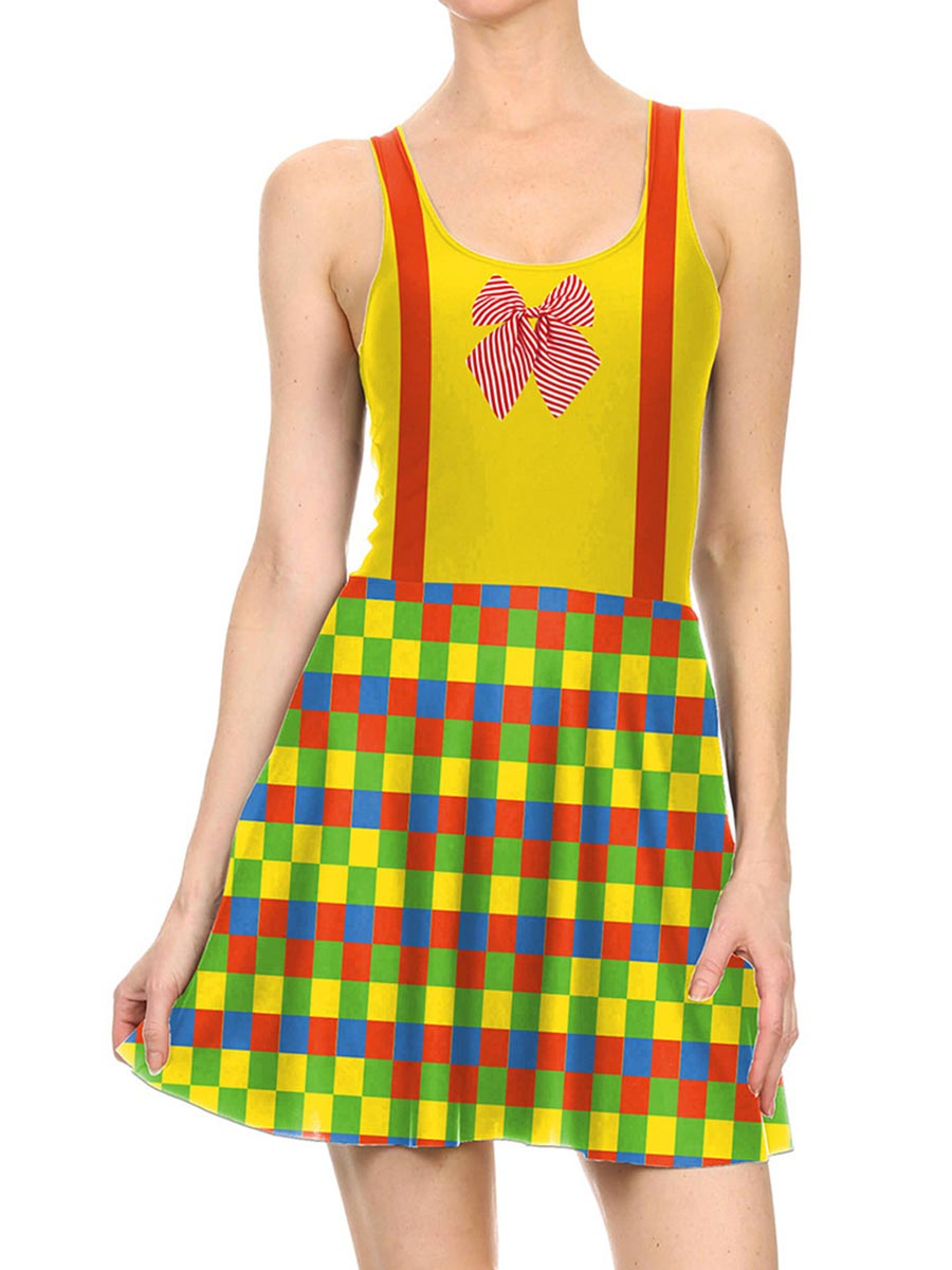 Women's 3D Printed Color Block Halloween Mini Skater Tank Dresses