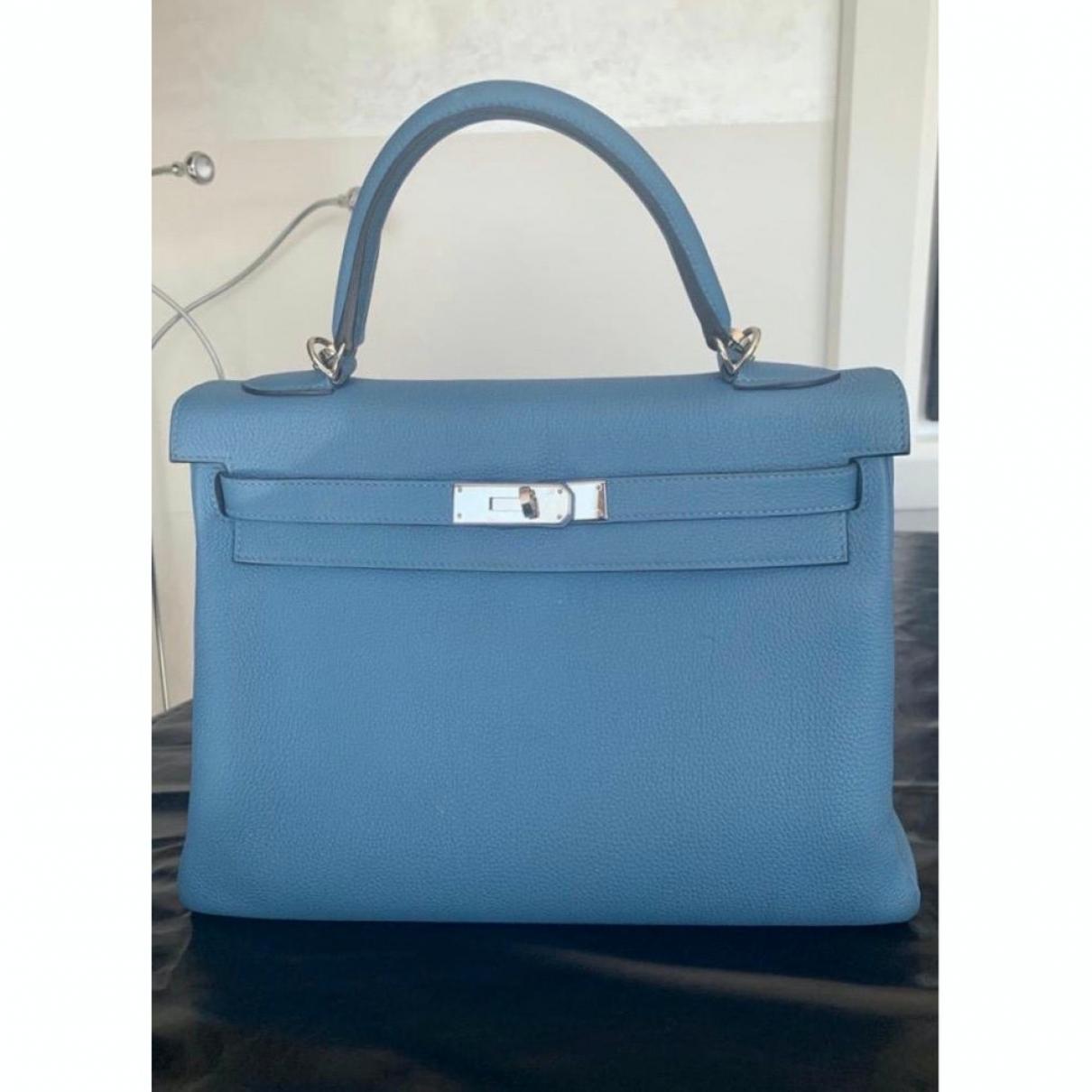Hermes Kelly 32 Handtasche in  Blau Leder