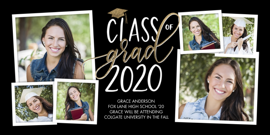 2020 Graduation Announcements Flat Matte Photo Paper Cards with Envelopes, 4x8, Card & Stationery -Class of Gold Grad by Tumbalina