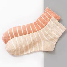 2 Paare Socken mit Streifen Muster