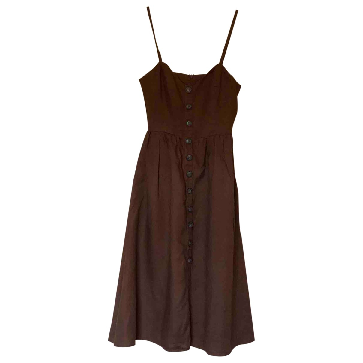 Reformation \N Brown Linen dress for Women 2 US