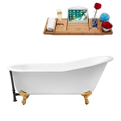 R5221GLD-BL 61 Cast Iron Soaking Clawfoot Tub and Tray with External Drain - Glossy
