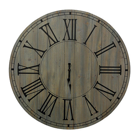 Stylecraft Roman Numeral Antique And Black Wood Wall Clock, One Size , Gray