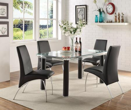 BM194422 Leatherette Upholstered Side Chairs with Metal Base  Black and Silver  Set of
