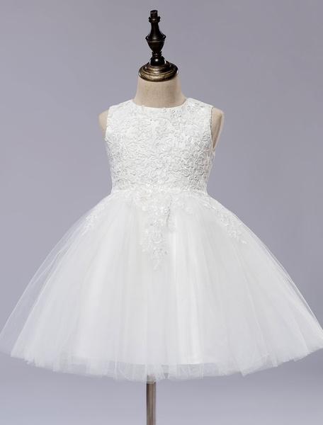 Milanoo White Flower Girls Dress Princess Sleeveless Ball Gown Short kids Pageant Dress