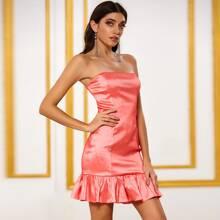 DKRX Flounce Hem Satin Tube Dress