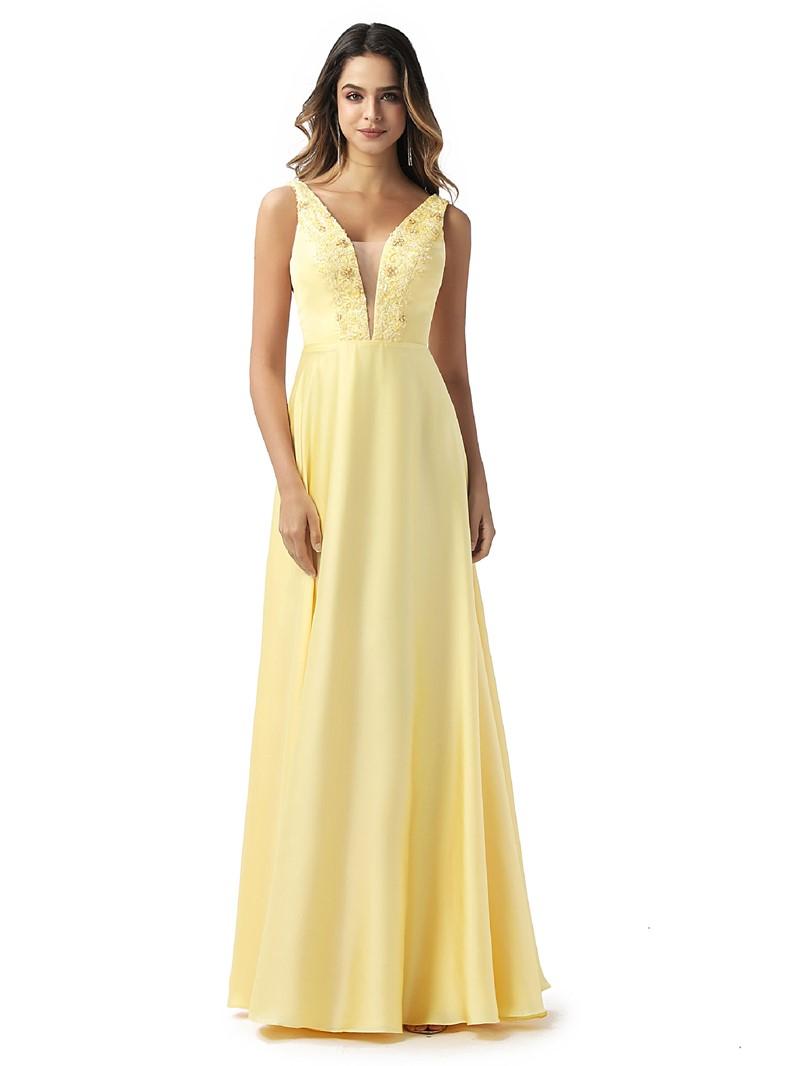 Ericdress Appliques V-Neck A-Line Prom Dress 2020