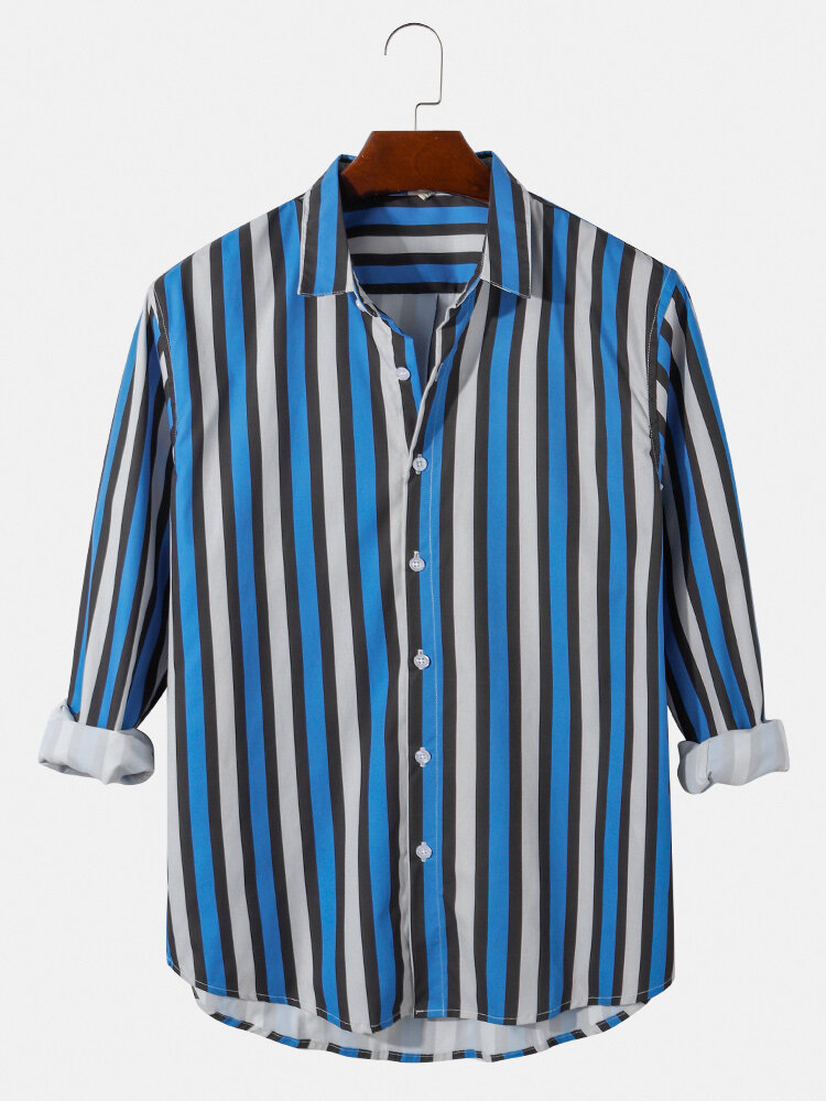 Mens Vertical Stripes Print Button Up Casual Loose Fit Long Sleeve Shirts