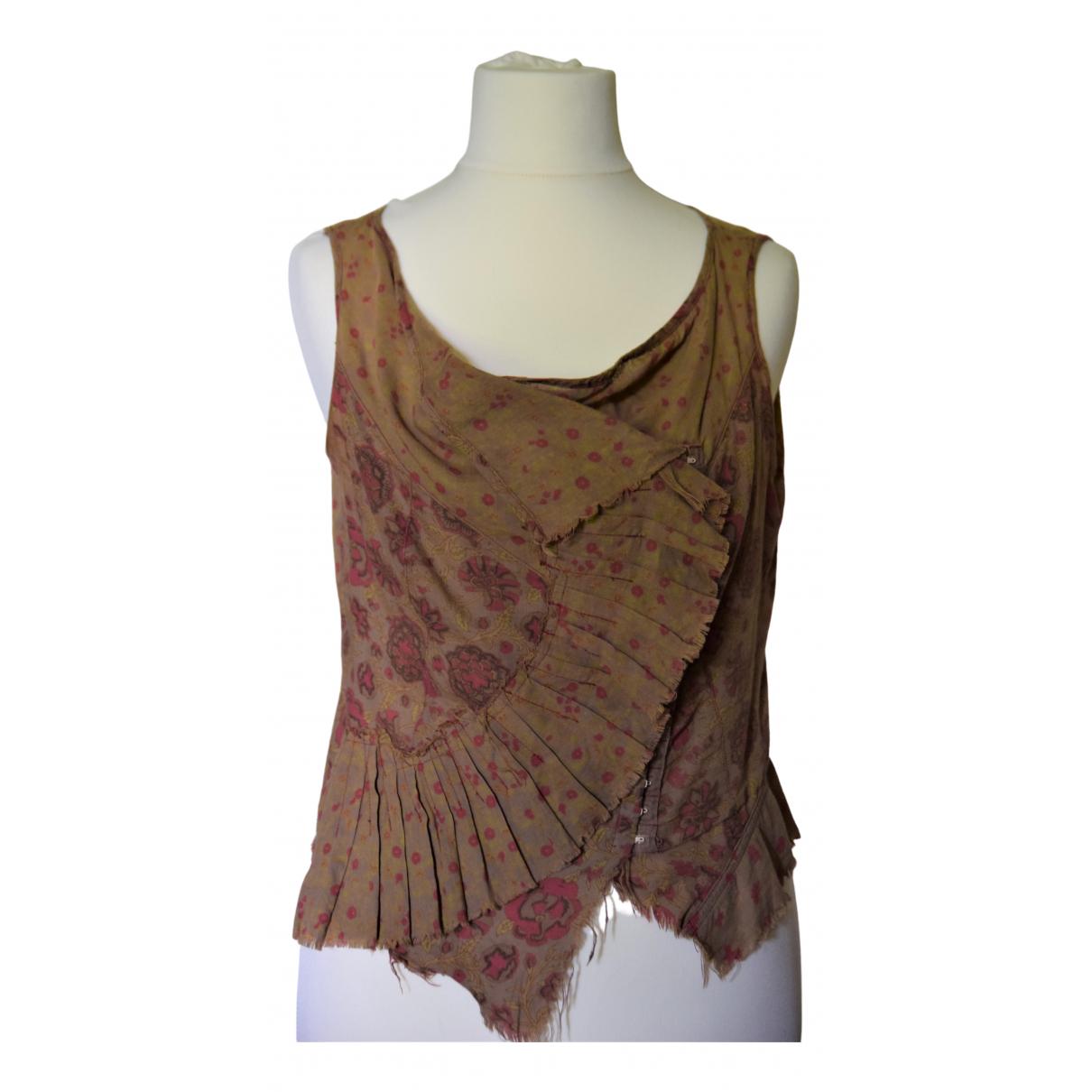 Plein Sud - Top   pour femme en coton - marron