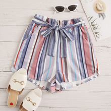 Plus Striped Paperbag Waist Belted Shorts