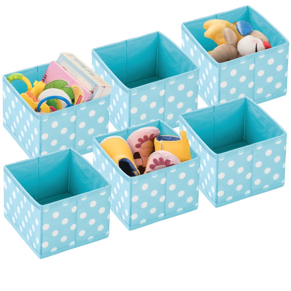 Small Fabric Closet and Dresser Drawer Organizer in Turquoise/White, by mDesign