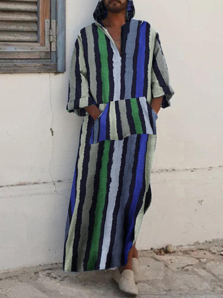 Ethnic Striped Hooded Loose Long Slit Hem Robes With Patchwork Kangaroo Pocket