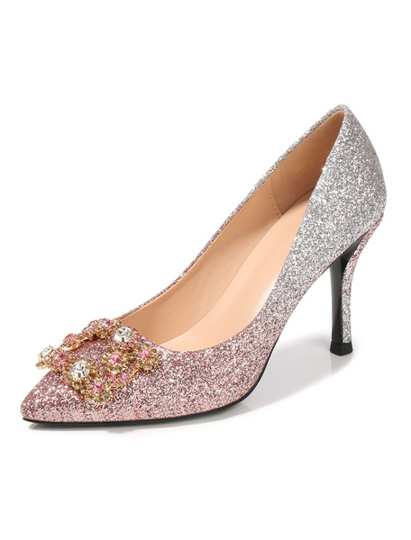 Milanoo Glitter Prom Shoes Women Pointed Toe Rhinestones High Heels Pink Party Shoes