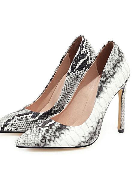 Milanoo Los tacones altos Bombas punta estrecha impresion de la serpiente de tacon de aguja del tamaño extra grande Zapatos
