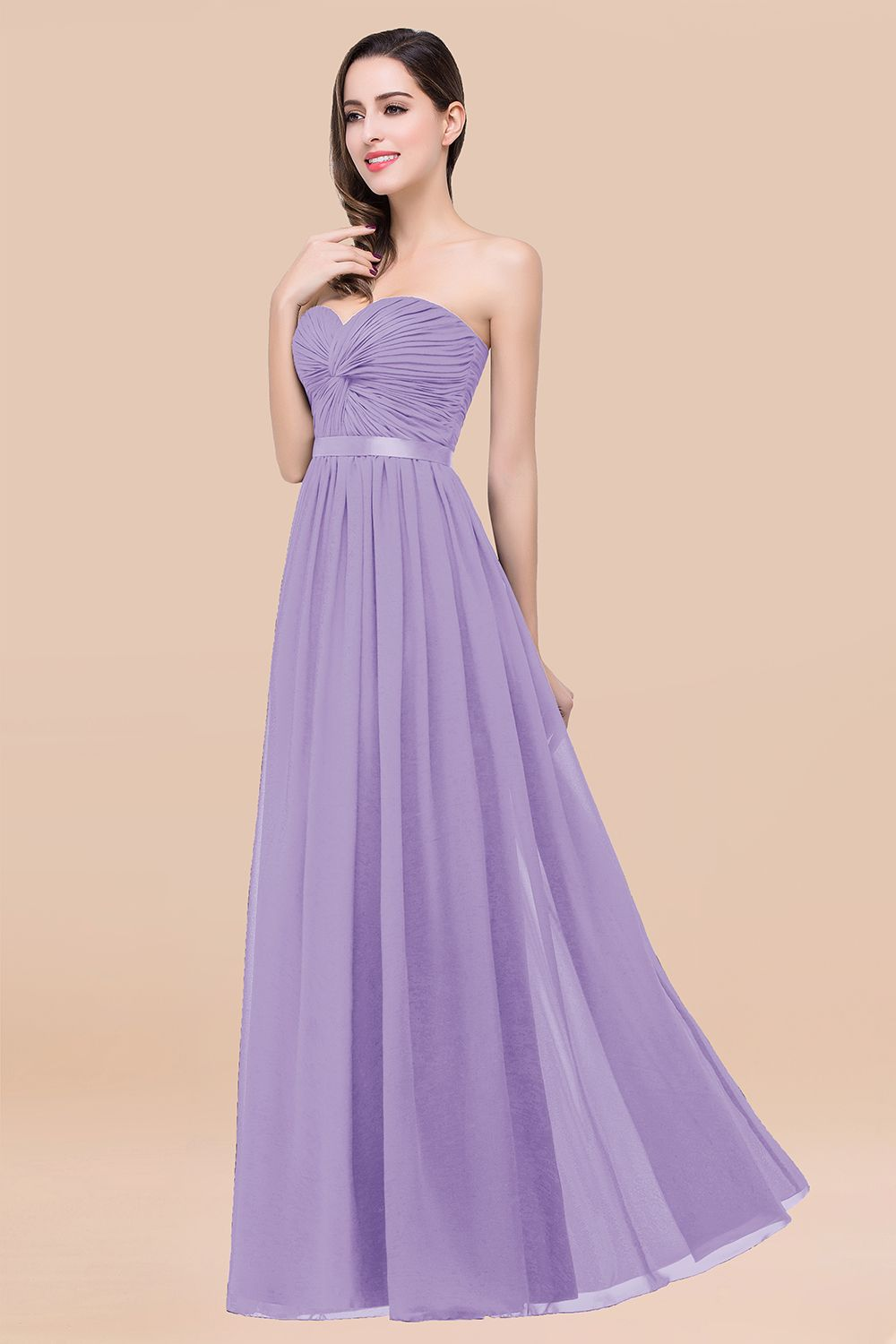 BMbridal Affordable Sweetheart Ruffle Navy Chiffon Bridesmaid Dress With Ribbon
