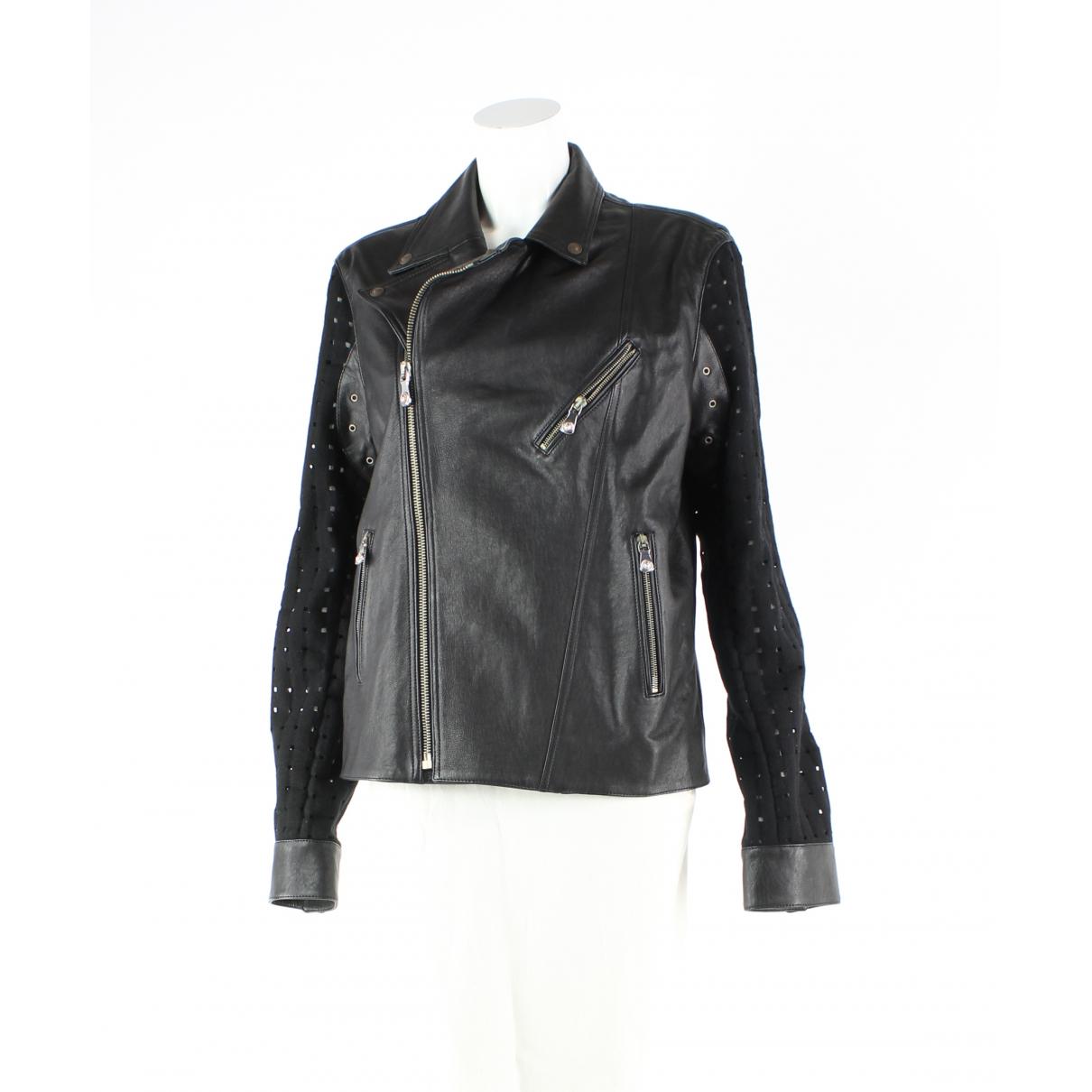Versus - Veste   pour femme en cuir - noir