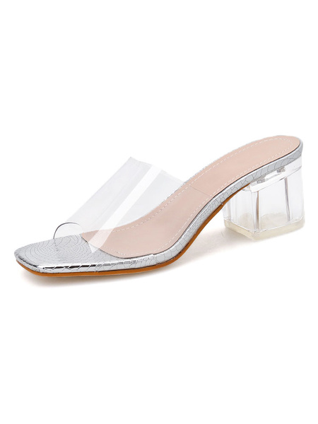 Milanoo Women\'s Transparent Clear Sandals Open Toe Square Toe Chunky Heel Summer Shoes