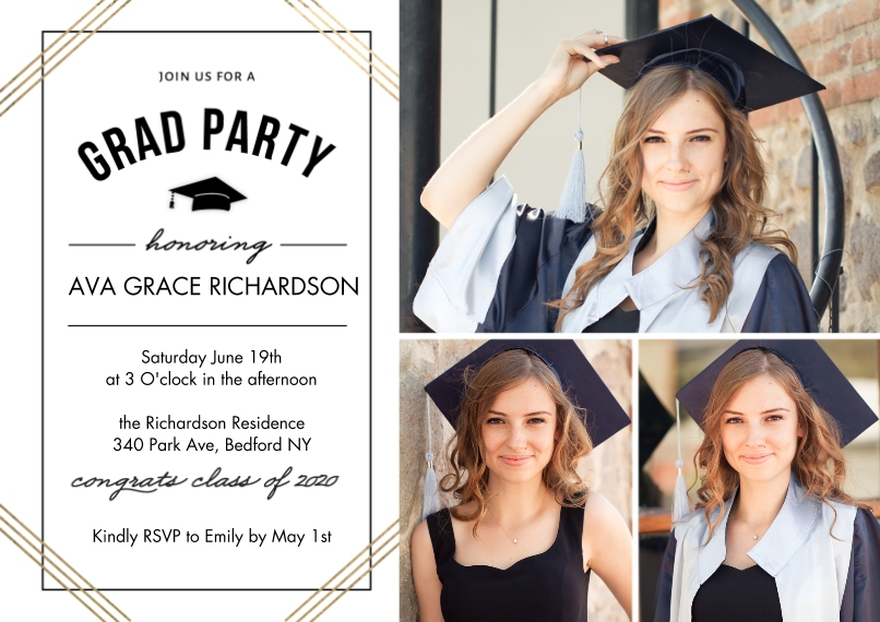 2020 Graduation Invitations 5x7 Cards, Premium Cardstock 120lb with Elegant Corners, Card & Stationery -2020 Grad Party Honoring by Tumbalina
