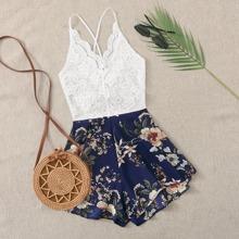 Plus Contrast Lace Floral Print Cami Romper
