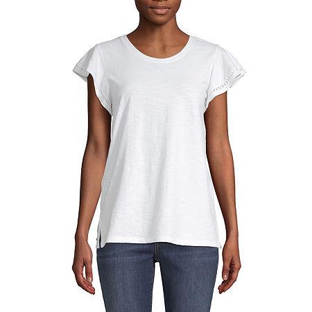 St. John's Bay-Womens Crew Neck Short Sleeve T-Shirt, Large , White