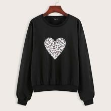 Sweatshirt mit Leopard & Herzen Muster