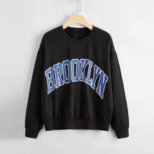 Drop Shoulder Letter Graphic Oversized Sweatshirt