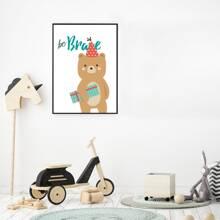 Pintura de pared de niños con estampado de oso de dibujos animados sin marco