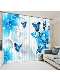 Blue Flowers and Butterflies Printed Custom 3D Curtain for Living Room