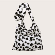 Cow Pattern Fluffy Crossbody Bag