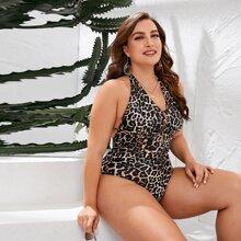 Plus Leopard Halter One Piece Swimwear