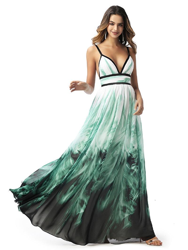 Ericdress Spaghetti Straps Pleats Sleeveless Prom Dress 2020