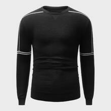 Men Topstitching Crew Neck Sweater