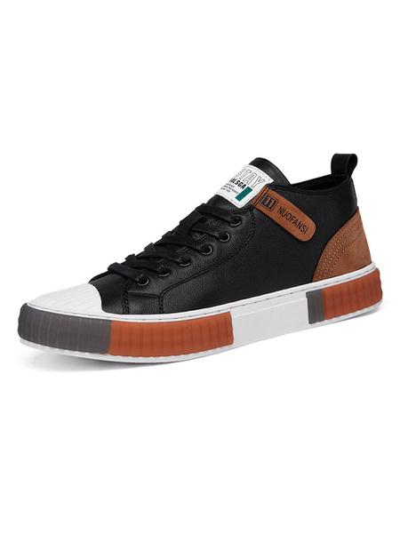 Milanoo Mens Sneakers Cowhide Round Toe Color Block Adjustable Tie Casual Shoes