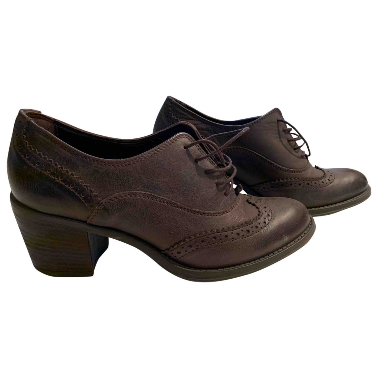 Non Signé / Unsigned \N Brown Leather Lace ups for Women 38 EU