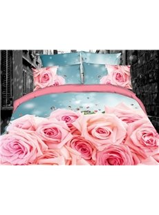 Pink Roses Romantic Digital Printing Cotton 3D 4-Piece Bedding Sets/Duvet Covers