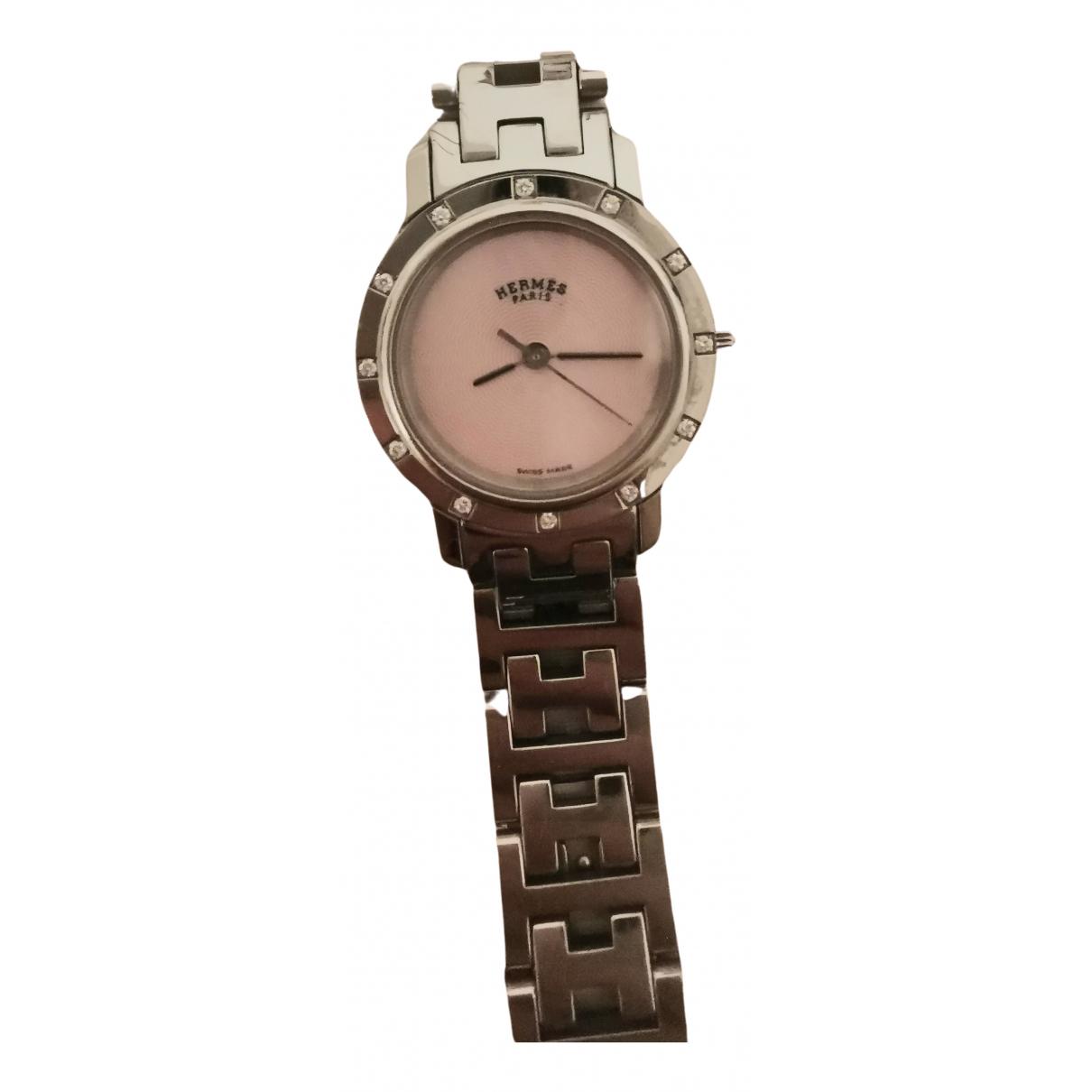 Hermes Clipper Uhr in  Anthrazit Stahl