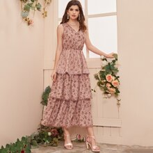 Lace Trim Layered Floral Dress