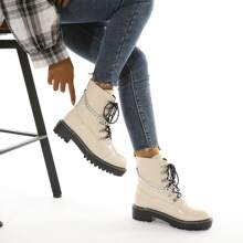Chain Decor Patent Leather Combat Boots