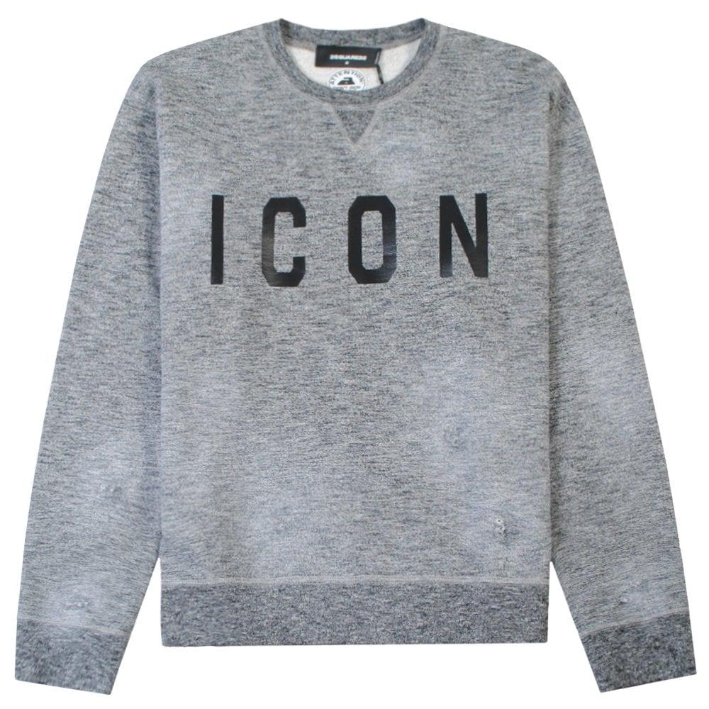 DSquared2 ICON Logo Sweatshirt Colour: GREY, Size: EXTRA EXTRA LARGE