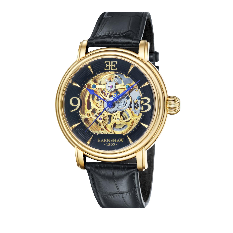 Thomas Earnshaw Men's Longcase ES-8011-03 Black Leather Automatic Self Wind Fashion Watch
