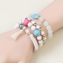 4 Stuecke Armband mit Perlen