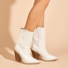 Point Toe Croc Embossed Chunky Heeled Boots