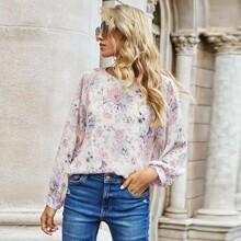 Camisa de manga raglan con estampado floral
