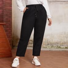 Pantalones Extra Grande Bolsillo Liso Casual