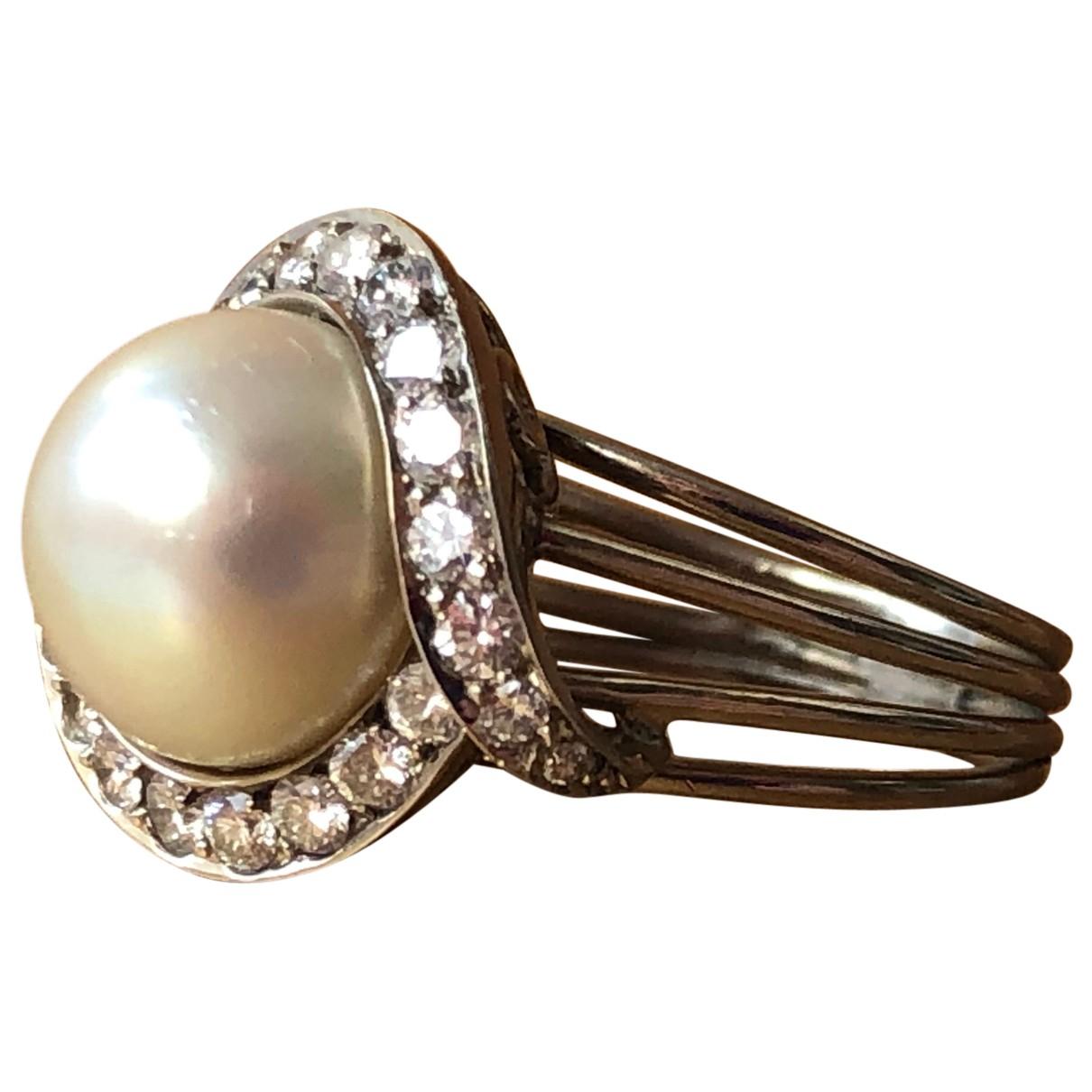 - Bague Art Deco pour femme en or blanc - metallise